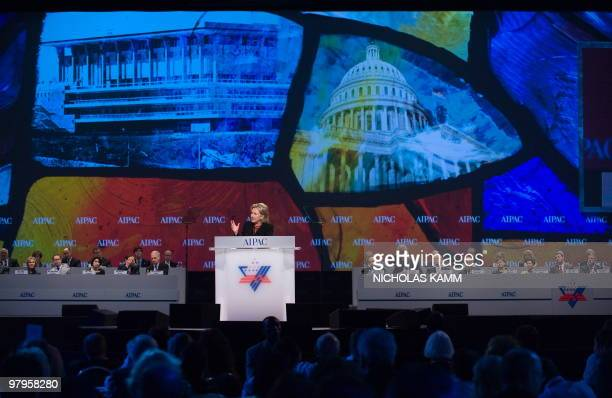 US Secretary of State Hillary Clinton addresses the annual American Israel Public Affairs Committee policy conference in Washington on March 22 2010...