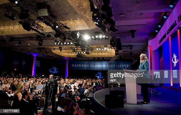 US Secretary of State Hillary Clinton addresses the audience during the 2012 Clinton Global Initiative annual meeting September 24 2012 in New York...