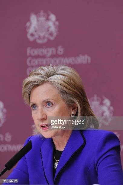 Secretary of State Hillary Clinton addressing a press conference with British Foreign Secretary David Miliband and Yemen's Foreign Minister Abu Bakr...