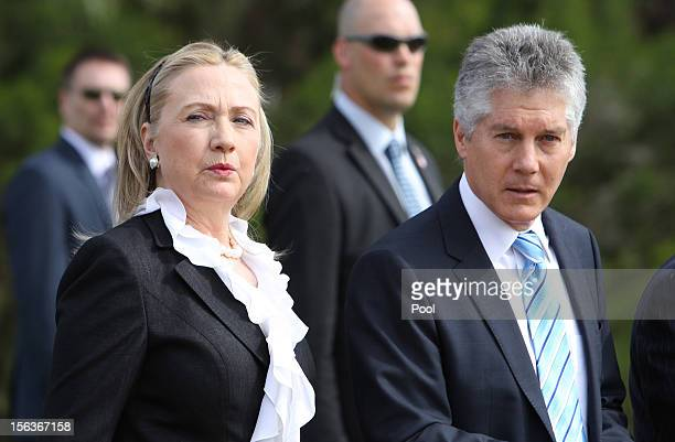 Secretary of State Hillary Clinton and Australian Minister for Defense Stephen Smith attend a wreathlaying ceremony at the Cenotaph in Kings Park on...