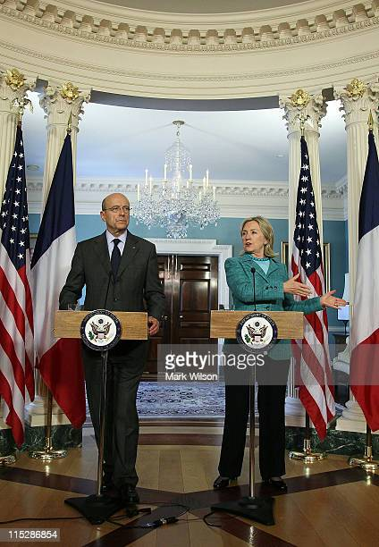 S Secretary of State Hillary Clinton and French Foreign Minister Alain Juppe participate in a press availability with reporters after attending a...
