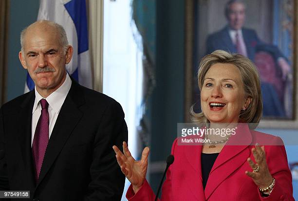 Secretary of State Hillary Clinton and Greek Prime Minister George Papandreou speak to the media after a meeting at the State Department on March 8...