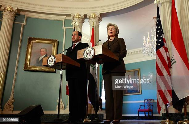 S Secretary of State Hillary Clinton and Prime Minister of Iraq Nouri alMaliki talk to reporters after a meeting at the State Department on October...