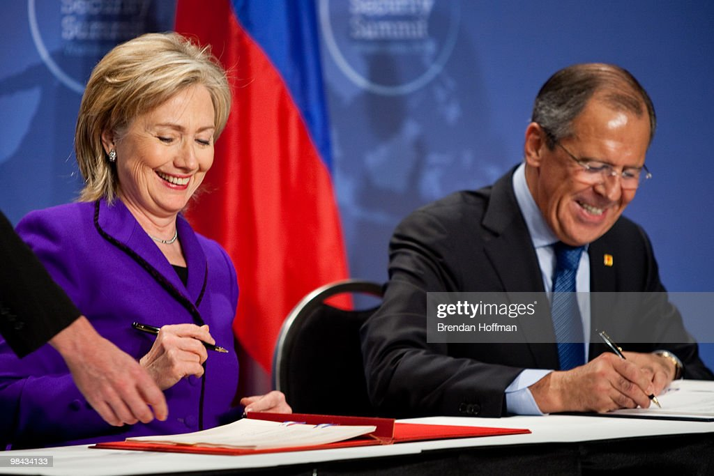 Hillary Clinton Signs Plutonium Disposition Protocol With Russian FM : News Photo