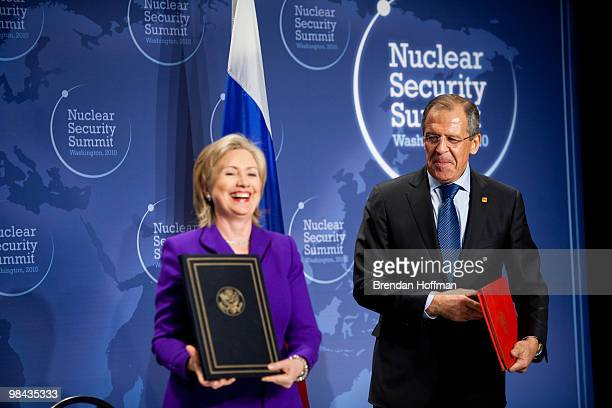 Secretary of State Hillary Clinton and Russian Foreign Minister Sergey Lavrov after signing a plutonium disposition protocol at the Nuclear Security...