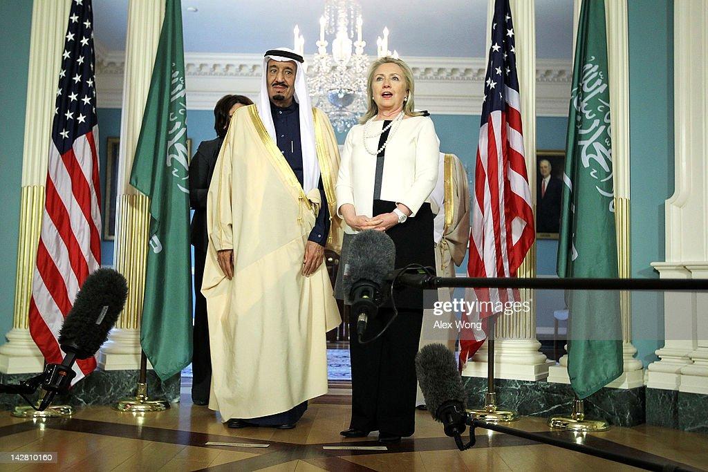 Secretary Of State Hillary Clinton Meets With Saudi Arabian Defense Minister : News Photo