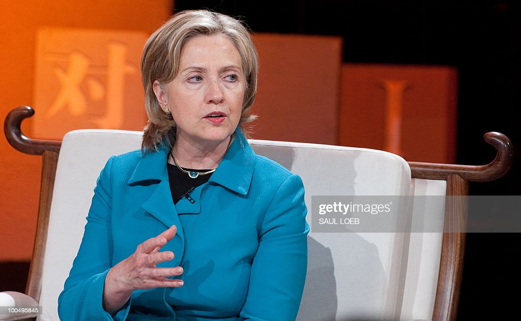 US Secretary of State Hillary Clinton answers a question while appearing on the show 'Dialogue' at CCTV studios in Beijing on May 25, 2010. Clinton arrived in Beijing on May 23 ahead of talks with Chinese leaders on trade issues and security threats including renewed tensions on the Korean peninsula. Clinton flew into the capital from Shanghai, where she had toured the World Expo site, and attended a state dinner hosted by Dai Bingguo, a member of China's State Council, or cabinet. AFP PHOTO / POOL / Saul LOEB