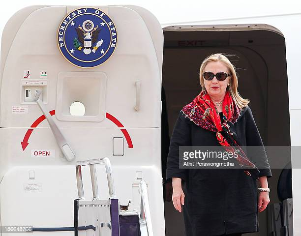 Secretary of State Hillary Clinton arrives at Don Muang International Airport on November 18 2012 in Bangkok Thailand Secretary Clinton is on a 10day...