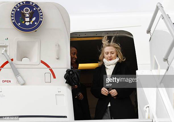 US Secretary of State Hillary Clinton arrives to attend talks in Paris on April 19 as part of international efforts to end the violence in Syria A...