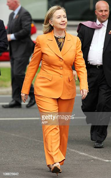 US Secretary of State Hillary Clinton arrives to tour the Port of Melbourne on November 7 2010 Australia is the final country on an Asia Pacific tour...