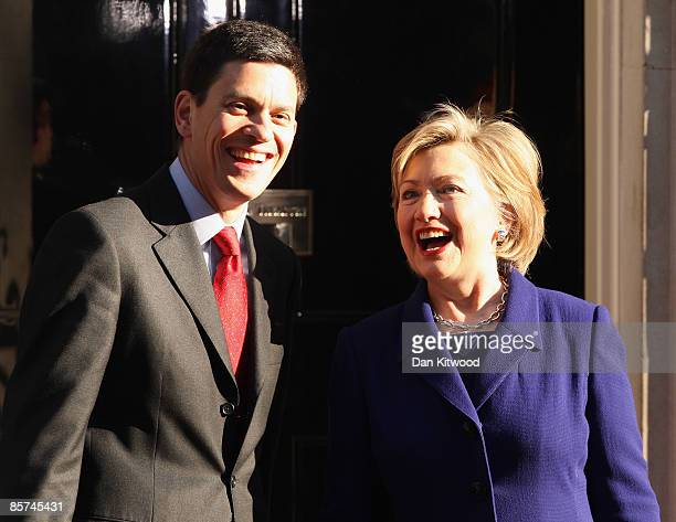 S Secretary of State Hillary Clinton arrives with British Foreign Secretary David Miliband in Downing Street on April 1 2009 in London England...