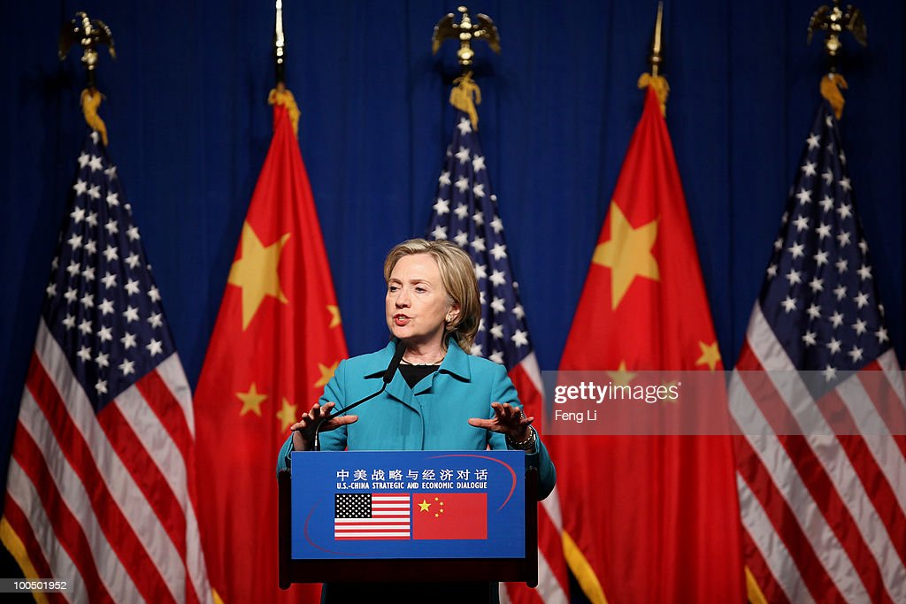 U.S. Secretary of State Hillary Clinton attends a U.S. Delegation Press Conference following the China-U.S. Strategic and Economic Dialogue (S&ED) on May 25, 2010 in Beijing, China. Hillary Clinton called upon Beijing to back international pressure against North Korea following the sinking of a South Korean warship, and to seek greater stability in the region.