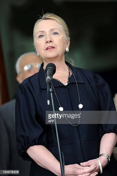 US Secretary of State Hillary Clinton briefs the press following a meeting with Algerian President Abdelaziz Bouteflika at the Mouradia Palace in...