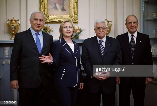 US Secretary of State Hillary Clinton gathers with Prime Minister Benjamin Netanyahu of Israel President Mahmoud Abbas of the Palestinian Authority...