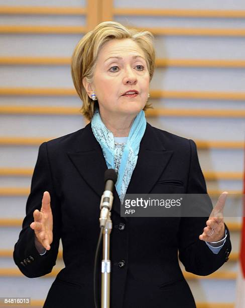 US Secretary of State Hillary Clinton gestures during her speech upon her arrival at Haneda international airport in Tokyo on February 16 2009...
