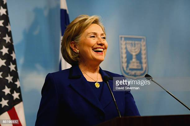 Secretary of State Hillary Clinton holds a joint press conference with Israeli Foreign Minister Tzipi Livni following their lunch meeting March 3...