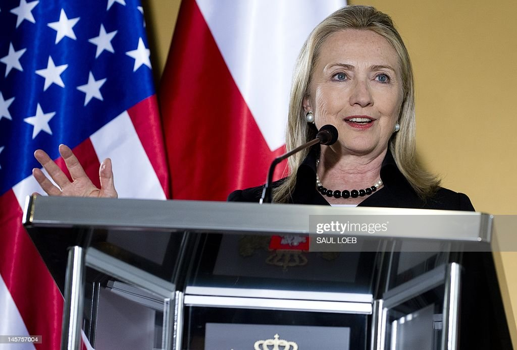 US Secretary of State Hillary Clinton holds a press conference at the Public Service Hall in Batumi on June 5, 2012. AFP PHOTO / POOL / Saul LOEB