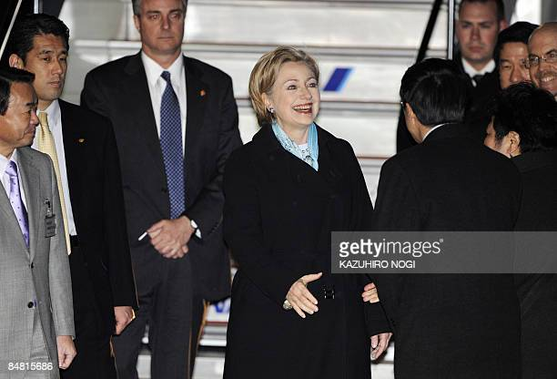 US Secretary of State Hillary Clinton is welcomed by wellwishers upon her arrival at Tokyo's Haneda Airport on February 16 2009 Clinton arrived in...