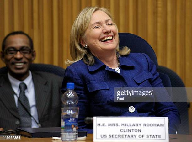 S Secretary of State Hillary Clinton laughs after speaking to the African Union Commission at the African Union Commission headquarters on June 13...