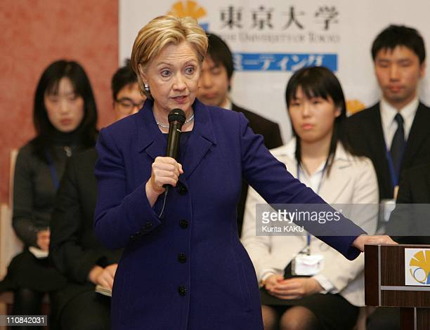 Secretary Of State Hillary Clinton Meets Students Of Tokyo University In Tokyo Japan On February 17 2009 Secretary of State Hillary Rodham Clinton...