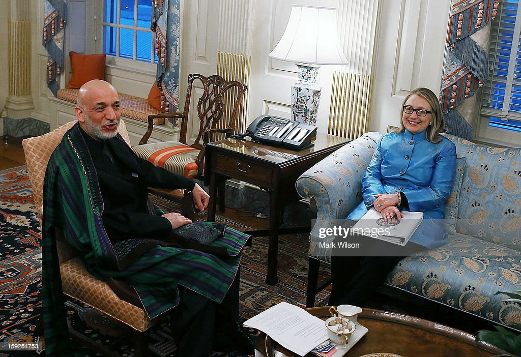 Hillary Clinton Hosts Afghanistan President Hamid Karzai At State Dept