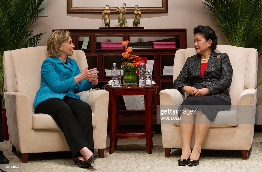 US Secretary of State Hillary Clinton meets with Chinese State Councilor Liu Yandong (R) at the National Center for the Performing Arts after meetings in Beijing on May 25, 2010. The United States and China were wrapping up strategic talks aimed at smoothing out differences on currency and trade issues, as Washington presses Beijing to get tough on North Korea. AFP PHOTO / POOL / Saul LOEB