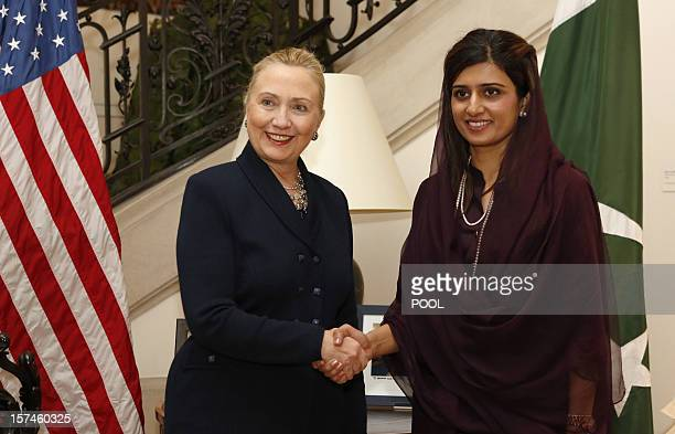 US Secretary of State Hillary Clinton meets with Pakistan's Foreign Minister Hina Rabbani Khar in the residence of the US Ambassador to Belgium in...