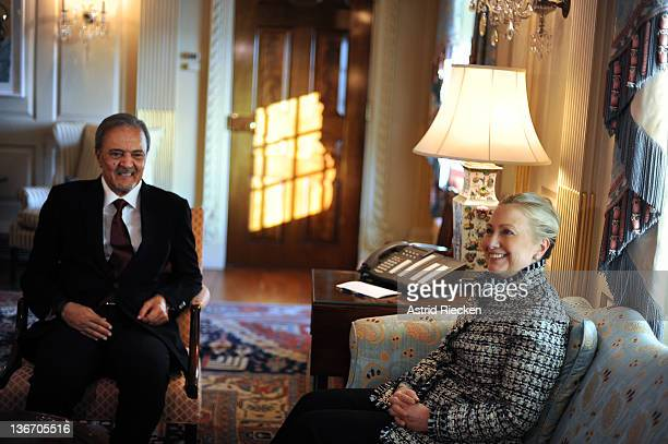 S Secretary of State Hillary Clinton meets with Saudi Arabia's Minister of Foreign Affairs Prince Saud AlFaisal January 10 2011 in Washington DC...
