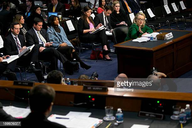 US Secretary of State Hillary Clinton right speaks during a Senate Foreign Relations Committee hearing in Washington DC US on Wednesday Jan 23 2013...
