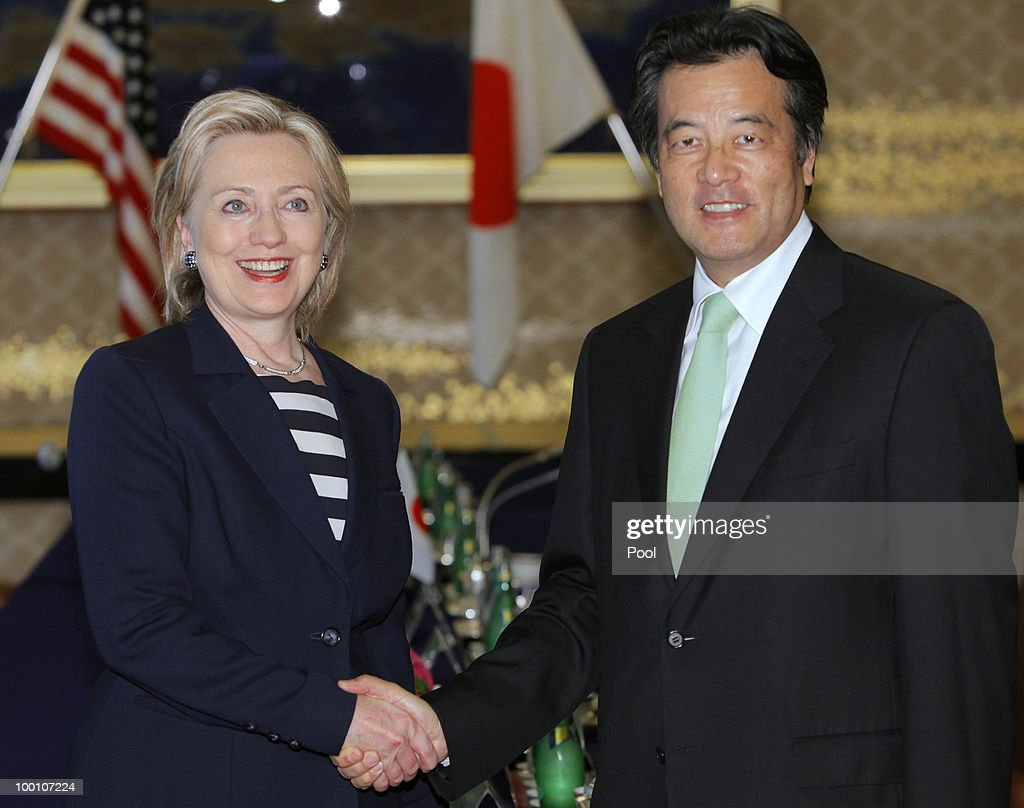 U.S. Secretary of State Hillary Clinton shakes hands with her Japanese counterpart Katsuya Okada before their meeting at the Foreign Ministry's Iikura guest house on May 21, 2010 in Tokyo, Japan. Clinton has arrived in Japan ahead of a week-long trip around Asia.