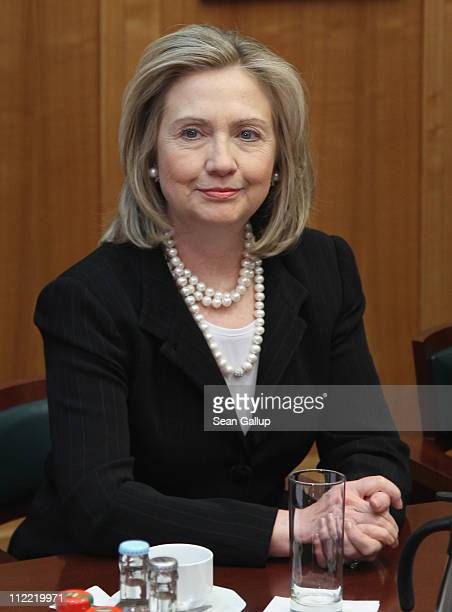 S Secretary of State Hillary Clinton sits down for talks with German Foreign Minister Guido Westerwelle at an informal meeting of NATO member foreign...