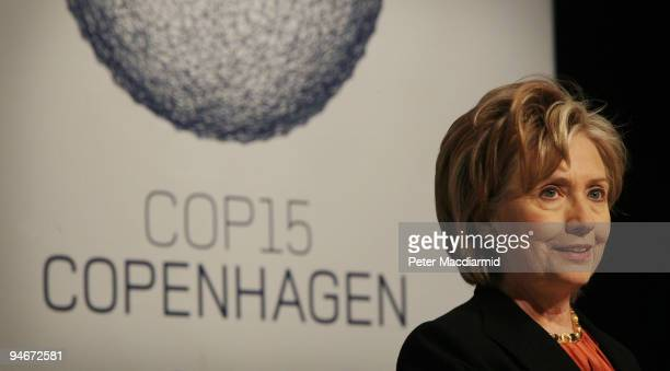 Secretary of State Hillary Clinton speaks at a press conference at the UN Climate Change Conference on December 17 2009 in Copenhagen Denmark...