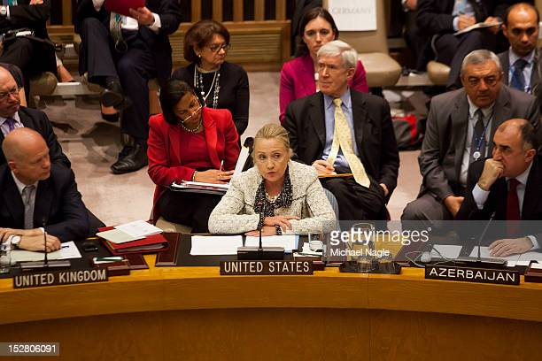 S Secretary of State Hillary Clinton speaks at a United Nations Security Council meeting on peace and security in Middle East on September 26 2012 in...