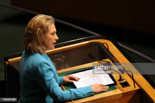 Secretary of State Hillary Clinton speaks at the 110th plenary meeting of the 64th General Assembly session where the flooding crisis in Pakistan was...