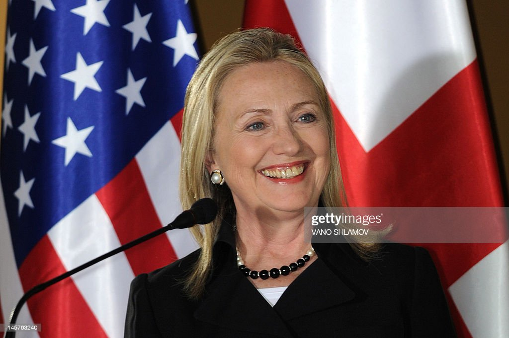 US Secretary of State Hillary Clinton speaks at the Public Service Hall in Batumi, Georgia, on June 5, 2012, during her joint press conference with Georgian President Mikheil Saakashvili.