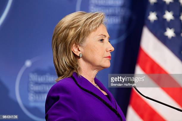 Secretary of State Hillary Clinton speaks before signing a plutonium disposition protocol with Russian Foreign Minister Sergey Lavrov at the Nuclear...
