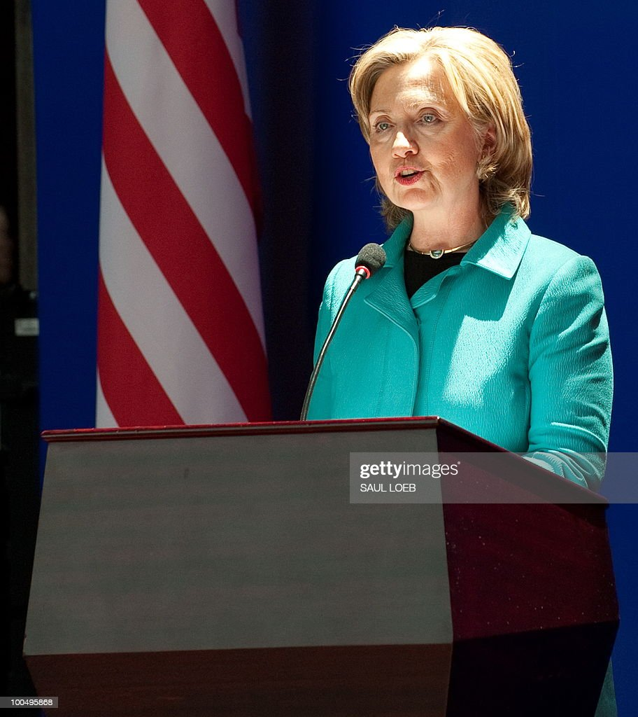 US Secretary of State Hillary Clinton speaks before signing the US-China Consultation on People-to-People Exchange agreement at the National Center for the Performing Arts in Beijing on May 25, 2010. Clinton arrived in Beijing on May 23 ahead of talks with Chinese leaders on trade issues and security threats including renewed tensions on the Korean peninsula. Clinton flew into the capital from Shanghai, where she had toured the World Expo site, and attended a state dinner hosted by Dai Bingguo, a member of China's State Council, or cabinet. AFP PHOTO / POOL / Saul LOEB