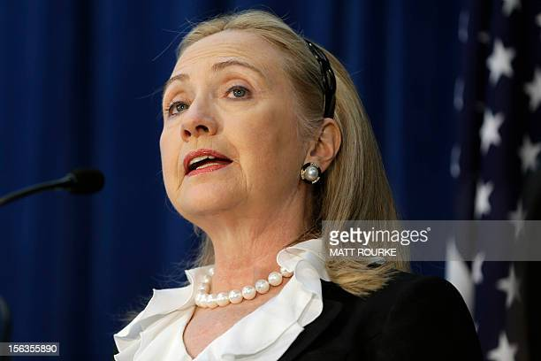 US Secretary of State Hillary Clinton speaks during a news conference at the annual AustraliaUnited States Ministerial Consultations in Perth on...