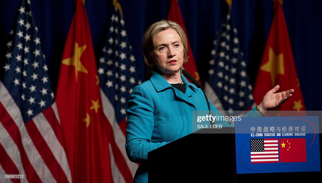 US Secretary of State Hillary Clinton speaks during a press conference following the conclusion of the Second Round of the US-China Strategic & Economic Dialogue in Beijing, May 25, 2010. Clinton said two days of high-level Sino-US talks had been 'very productive' but admitted differences remained, especially on economic and trade issues. AFP PHOTO / POOL / Saul LOEB