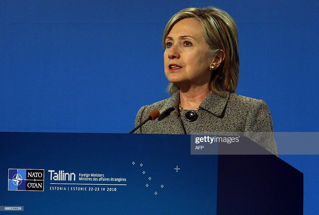 US Secretary of State Hillary Clinton speaks during a press conference after the North Atlantic Council meeting with non-NATO ISAF contributors during the informal NATO Foreign Ministers meeting in Tallinn on April 23, 2010. NATO foreign ministers sealed Friday a plan for international troops and civilian staff in Afghanistan to hand over responsibility to the local military and government.