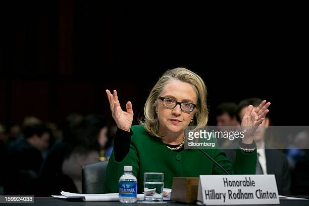 US Secretary of State Hillary Clinton speaks during a Senate Foreign Relations Committee hearing in Washington DC US on Wednesday Jan 23 2013 Clinton...