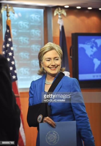 US Secretary of State Hillary Clinton speaks to reporters after a press conference following talks with ousted Honduran President Mauel Zelaya at the...
