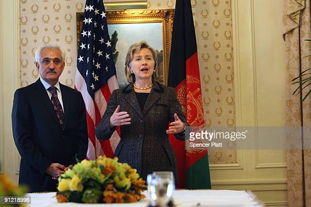 S Secretary of State Hillary Clinton stands with Afghan Minister of Foreign Affairs Dr Rangin Dadfar Spanta before a meeting on September 28 2009 in...