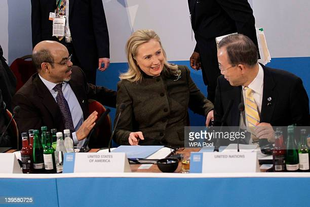 Secretary of State Hillary Clinton talks to Prime Minister of Ethiopia Meles Zenawi and UN SecretaryGeneral Ban KiMoon during the Somalia Conference...