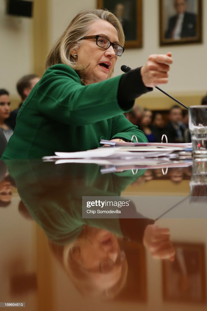 U.S. Secretary of State Hillary Clinton testifies before the House Foreign Affairs Committee on Capitol Hill January 23, 2013 in Washington, DC. Lawmakers questioned Clinton about the security failures during the September 11 attacks against the U.S. mission in Benghazi, Libya, that led to the death of four Americans, including U.S. Ambassador Christopher Stevens.