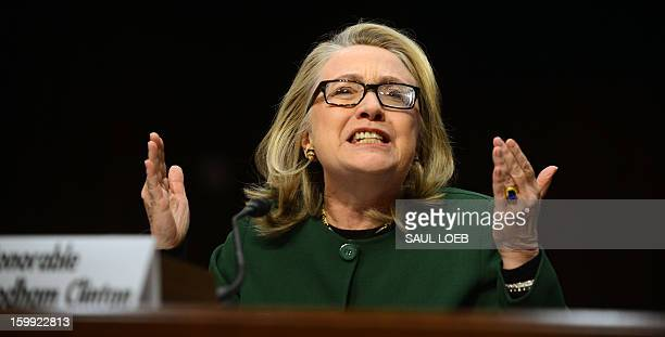 US Secretary of State Hillary Clinton testifies before the Senate Foreign Relations Committee on the September 11 2012 attack on the US mission in...