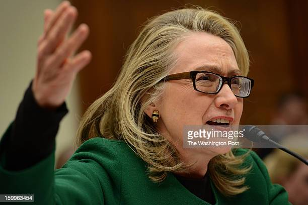 Secretary of State Hillary Clinton testifies on the Benghazi attack before the House Foreign Relations Committee in Washington, DC on January 23,...