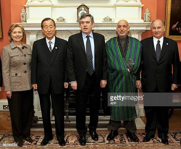 US Secretary of State Hillary Clinton UN SecretaryGeneral Ban Kimoon Britain's Prime Minister Gordon Brown Afghan President Hamid Karzai and The Aga...