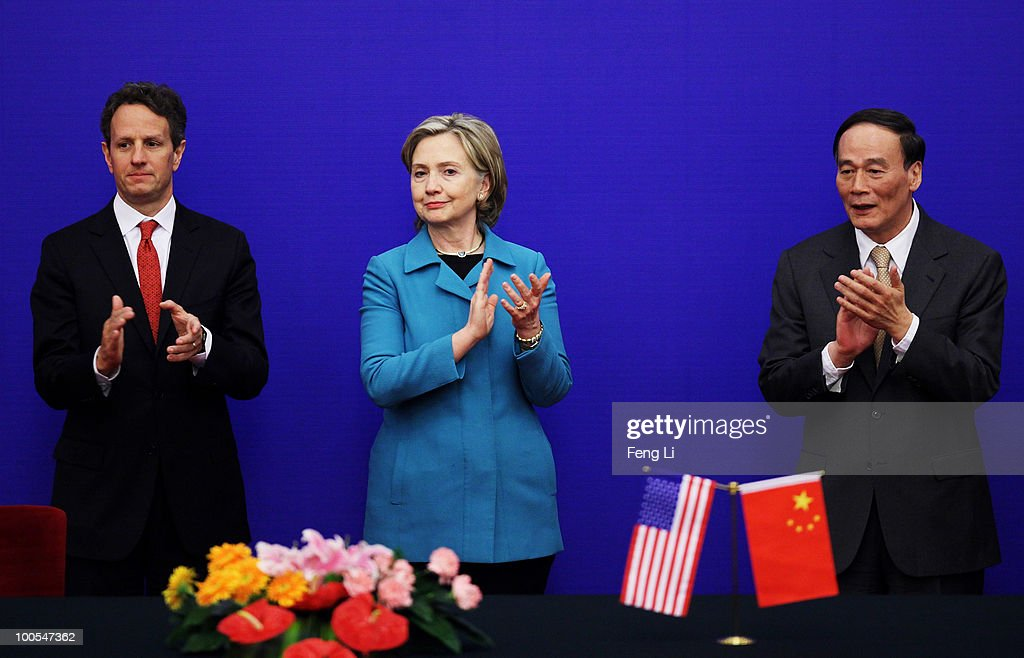 U.S. Secretary of State Hillary Clinton (C), U.S. Treasury Secretary Timothy Geithner (L) and China's Vice Premier Wang Qishan (R) attend a press conference during the China-U.S. Strategic and Economic Dialogue (S&ED) at the Great Hall of People on May 25, 2010 in Beijing, China. Hillary Clinton called upon Beijing to back international pressure against North Korea following the sinking of a South Korean warship, and to seek greater stability in the region.