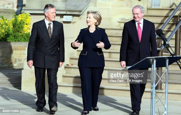 Secretary of State Hillary Clinton, with Northern Ireland's First Minister Peter Robinson and Deputy First Minister Martin McGuinness , at Stormont...
